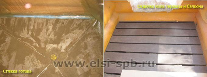Готовая стяжка, укладка террасной доски на террасе бани и балконе дома.